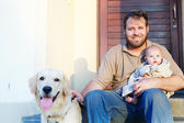 Father, son and dog — Stock Photo