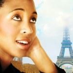 Woman and Paris — Stock Photo