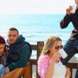 Turkish young friends by the sea - Stock Photo