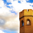 Brick tower of medieval castle - Foto Stock
