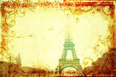 Eiffel Tower in winter on grunge background — Stock Photo
