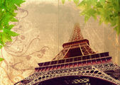 Grunge Eiffel Tower in sepia — Stock Photo