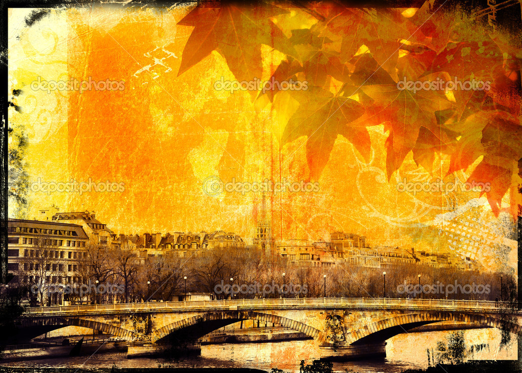 Grunge Paris bridge and leaves background with burnt edges and grubby texture — Stock Photo #5411060
