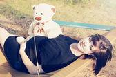 Pregnant woman outdoors — Stock Photo