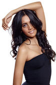 Beauty woman with long balck curly hair — Stock Photo