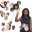 African American businesswoman social network - Stock Photo