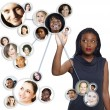 African American businesswoman social network — Stock Photo