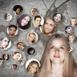 Young woman social network — Stock Photo