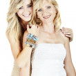 Mother and daughter on white background — Stock Photo