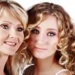 Stock Photo: Mother and daughter on white background