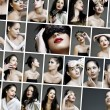 Collage of beauty fashion make-up faces — Stock Photo