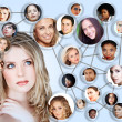 Social network media concept collage - Stock Photo