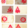 Royalty-Free Stock Photo: Grunge collage set of Christmas tree retro style cards