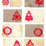 Grunge collage set of Christmas tree retro style cards — Stock Photo