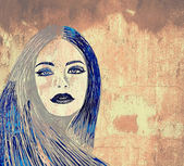 Graffiti woman on wall — Stock Photo