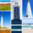 Collage of historical Light House on Atlantic Ocean . — Stock Photo