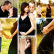 Stock Photo: Happy pregnant couple collage.
