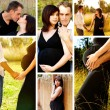 Happy pregnant couple collage. - Stock Photo