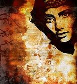 Graffiti fashion illustration of a beautiful woman — Stock Photo