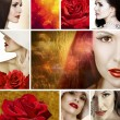 Beautiful woman with red roses collage — Stock Photo