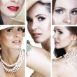 Beautiful woman with pearls collage — Stock Photo