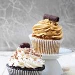 Coffee and chocolate cupcakes. — Stock Photo