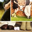 Happy pregnant couple collage — Stock Photo