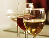 White Wine and Red Wine — Stock Photo