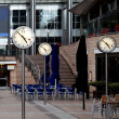 Stock Photo: Time, Canary Wharf offices in London, UK
