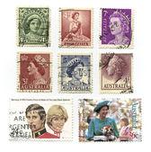 Queen Elizabeth, Stamps — Stock Photo