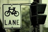 Urban traffic, bicycle Sign — Stock Photo