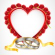 Pair of Rings with Rose Heart — Vector de stock