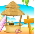 Straw Hut and Surfing Board in Beach — Vector de stock #5461613