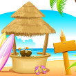 Straw Hut and Surfing Board in Beach - Imagen vectorial