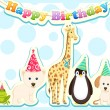 Animals Celebrating Birthday — Stock Vector