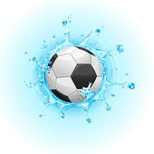 Splashing Soccer Ball — Stock Vector