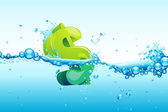 Dollar in water — Stock Vector