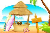 Choza de paja y tablero que practica surf en la playa — Vector de stock