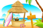 Straw Hut and Surfing Board in Beach — Vector de stock
