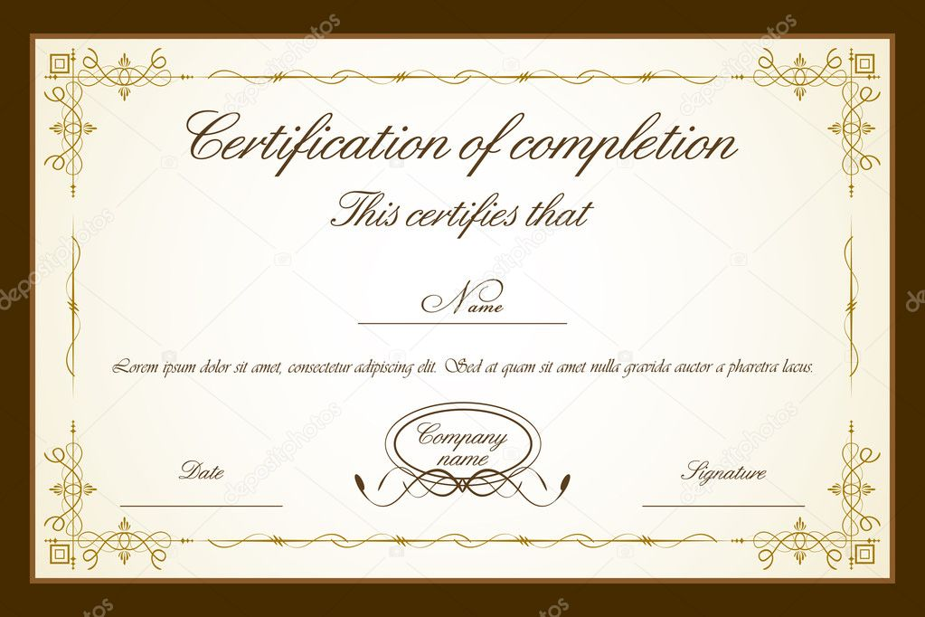 Illustration of certificate template with floral frame — ベクター素材ストック #5462066