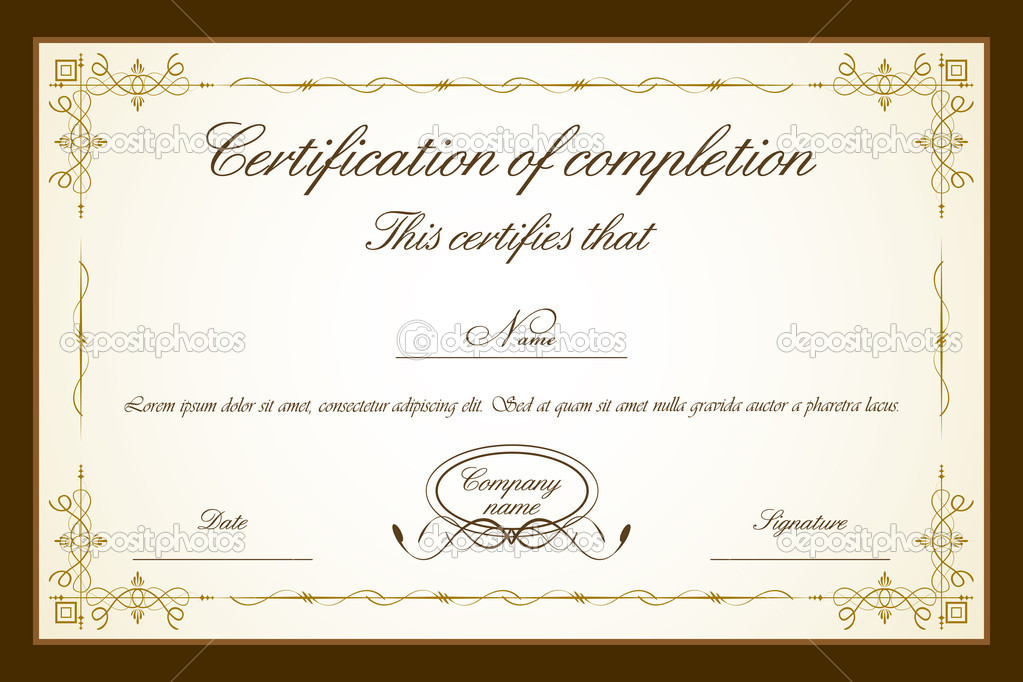 Illustration of certificate template with floral frame  Stockvectorbeeld #5462066