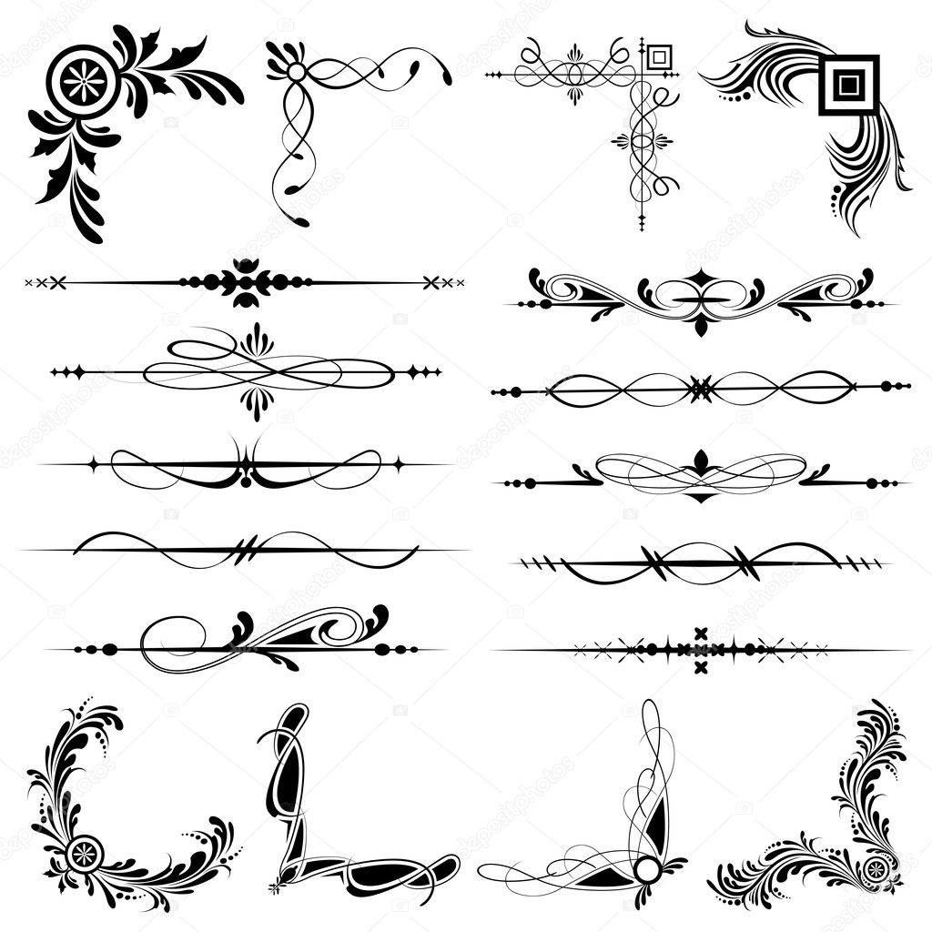 Illustration of set of vintage design elements for frames  Stock Vector #5462654