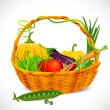 ストックベクタ: Basket full of Vegetables