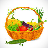 Basket full of Vegetables — Stock Vector
