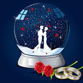 Kissing Couple in Glass Globe — Stock Vector