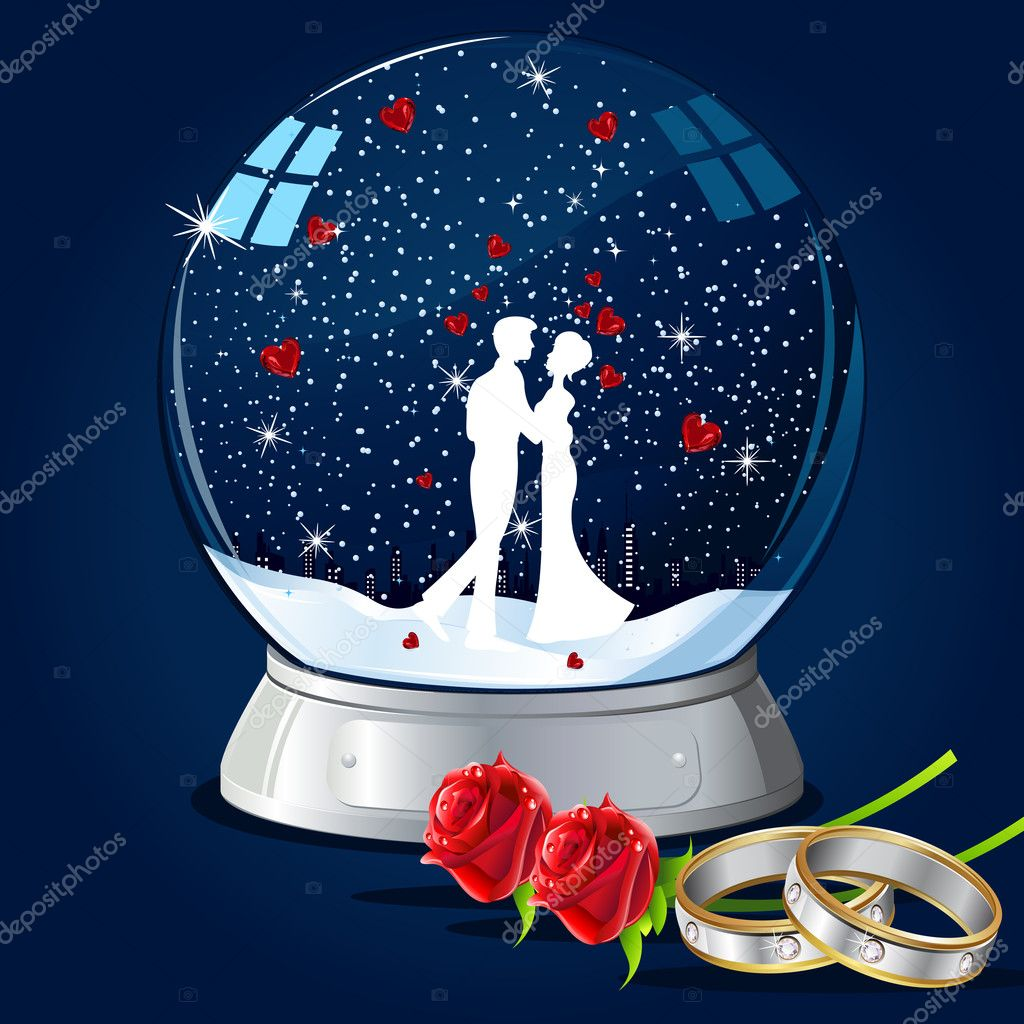 Illustration of couple kissing in glass globe with hearts and ring  Stock Vector #5488146