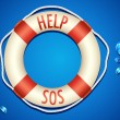SOS written on Lifebouy — Stock Vector