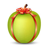 Apple wrapped with Ribbon — Stock Vector
