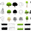 Set of Different Tree — Stock Vector