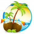 Stock Vector: Tropical Coconut Cocktail